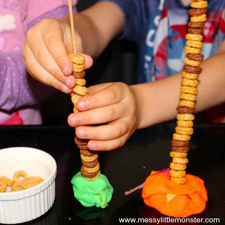 Activities for toddlers - pasta threading activity