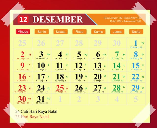 Download Kalender Desember 2018 Hijriyah Jawa Dan Pasaran