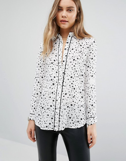 warehouse white star blouse, white star shirt,