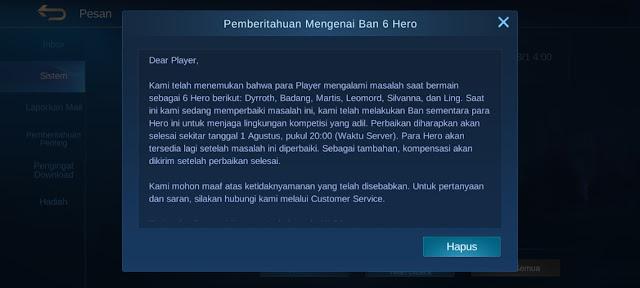 Moonton Ban 6 Hero