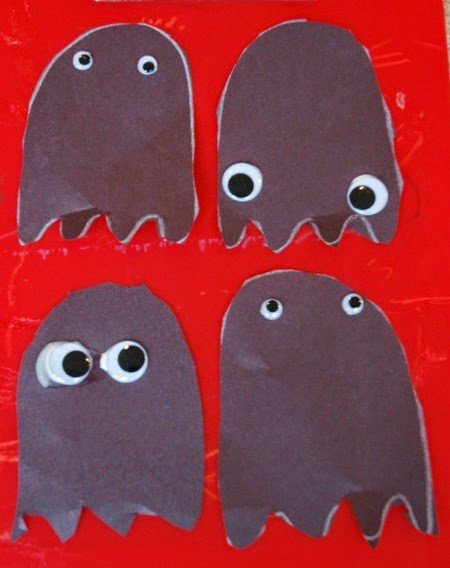 Halloween shadow ghosts with googly eyes