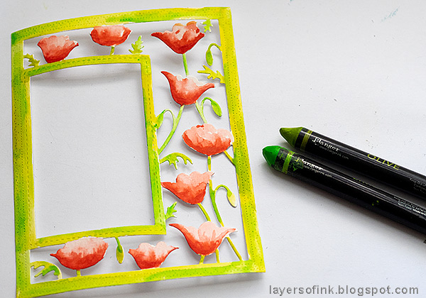 Layers of ink - Poppy Frame Art Journal Page by Anna-Karin Evaldsson. Color the frame.
