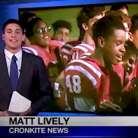 Clip from Cronkite News story featuring anchor Matt Lively and image of Adonis and Brophy football team celebrating.