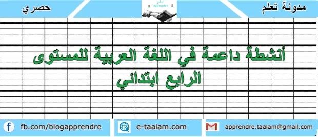 أنشطة داعمة في اللغة العربية للمستوى الرابع ابتدائي
