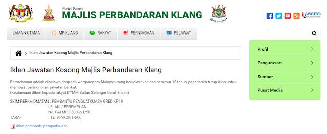 Rasmi - Jawatan Kosong di (MPK) Majlis Perbandaran Klang Terkini 2019