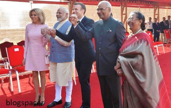 photo of the first lady of India and president, Modi, Emmanuel macron-photo