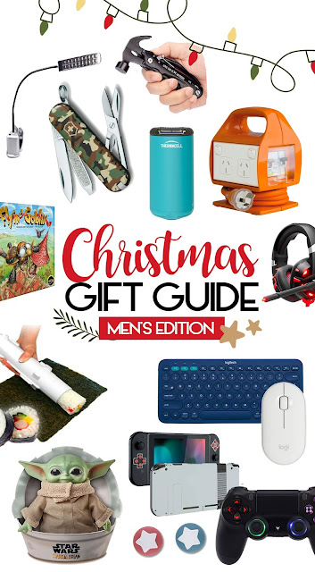 Men's Christmas Gift Guide - Geeky man, gamer, outdoors, camping, DIY, manly man