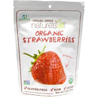 الفراولة العضوية المجففة من اي هيرب   Nature's All, Organic Strawberries, Freeze-Dried, 1.2 oz (34 g)
