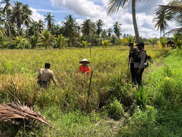Personil Polsek Pulau Hanaut Sambang Petani Desa Hanaut