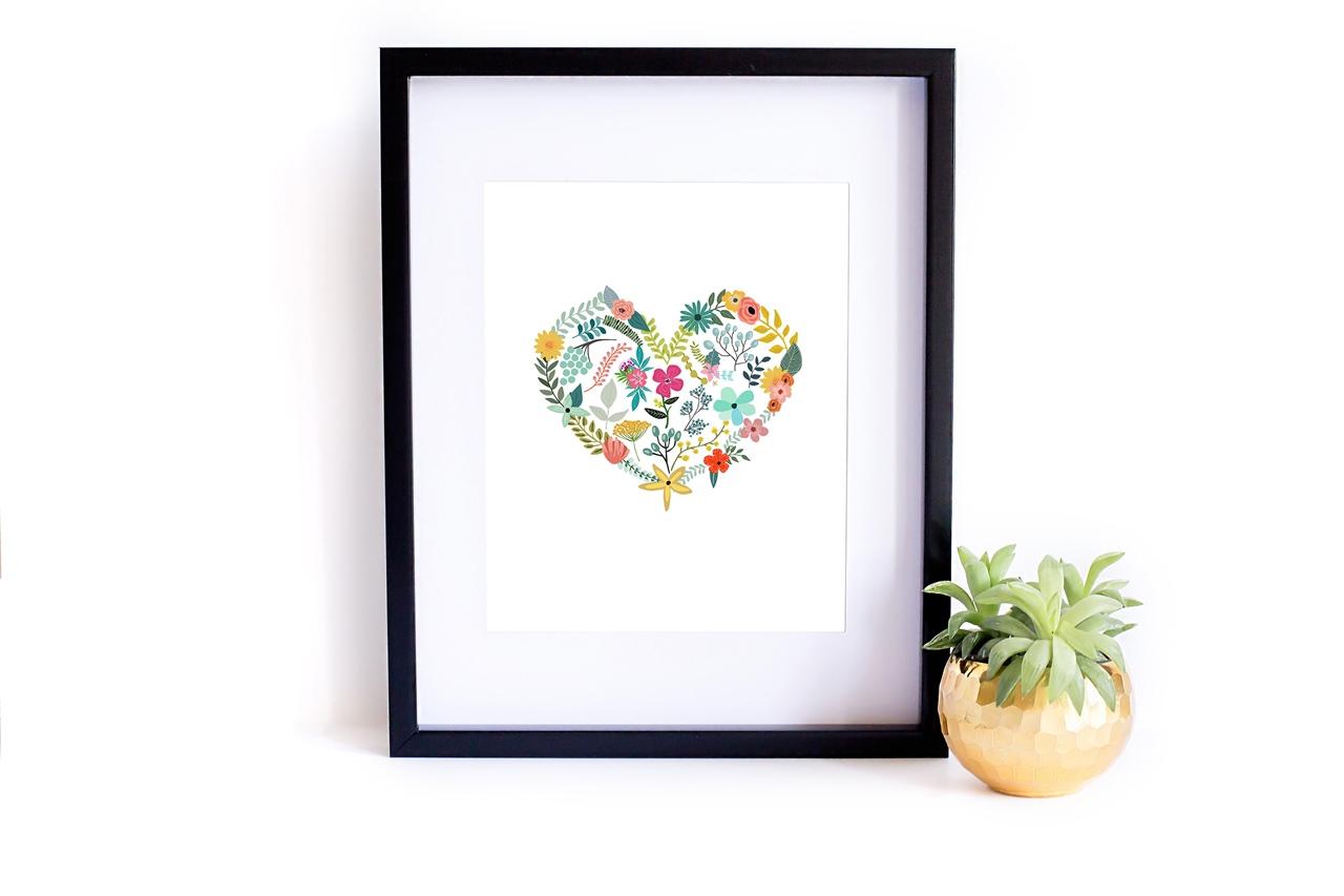 Miłosny plakat do druku do pobrania On Sutton Place - Kwiatowe serce