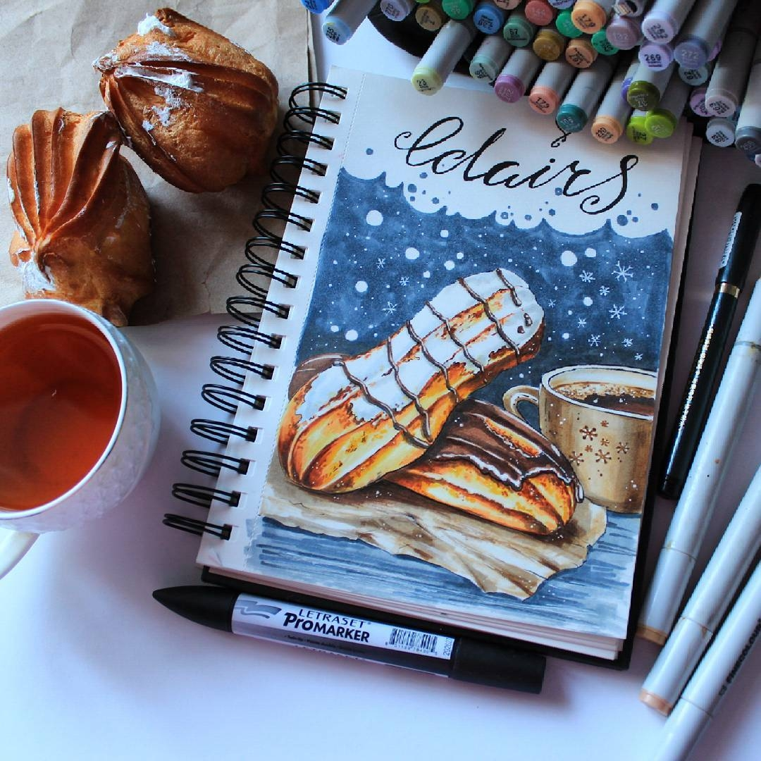 12-stepashkina-Cakes-Pastries-and-Drinks-Food-Art-Drawings-www-designstack-co