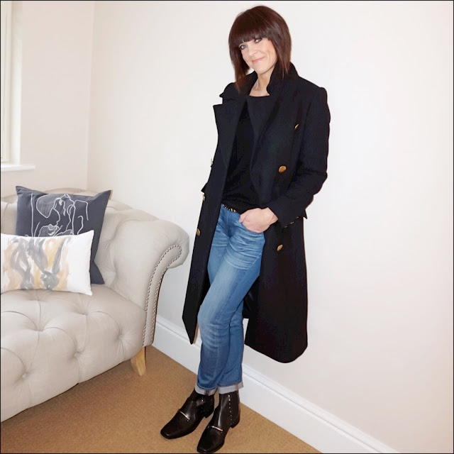 My Midlife fashion, boden relaxed fit cashmere V neck jumper, j crew boyfriend jeans, marks and spencer military styled coat, finery jake leather studded ankle boots