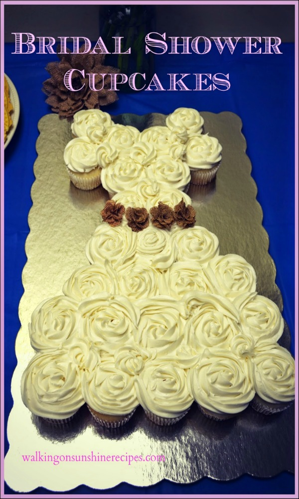 Bridal Shower Cupcakes in the shape of a wedding dress from Walking on Sunshine