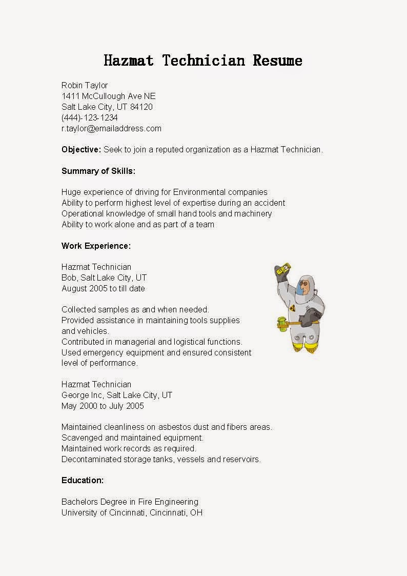 Resume Samples Hazmat Technician Resume Sample