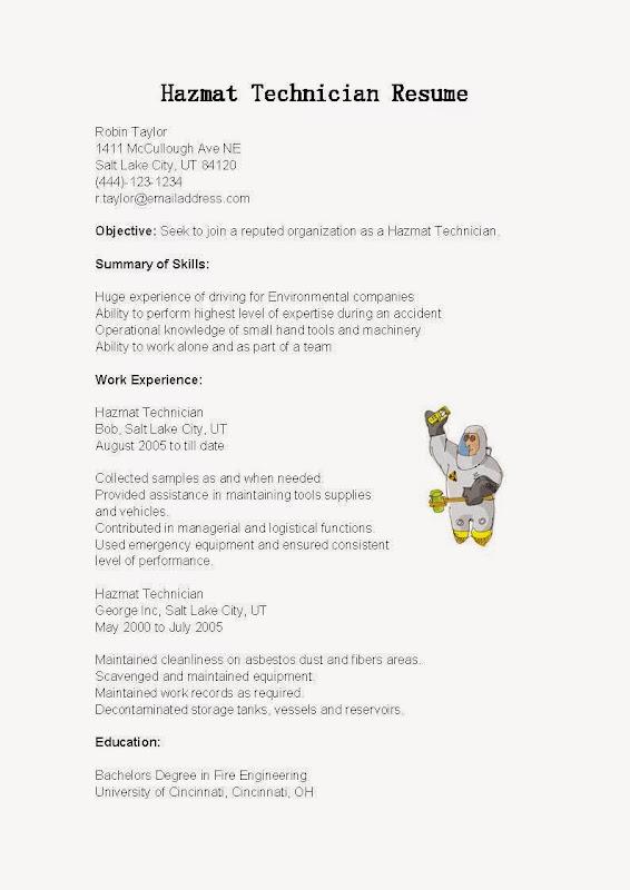 Hazmat Technician Resume Sample Use this FREE Sample Hazmat - hazardous materials specialist sample resume