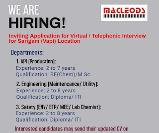 Macleods Pharmaceuticals Ltd Hiring Diploma/ ITI / BE/ MSc Experienced Candidates Selection By Virtual/ Telephonic Interview