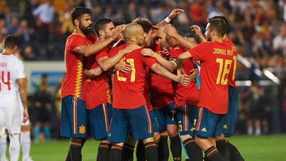 Spain celebrate a goal