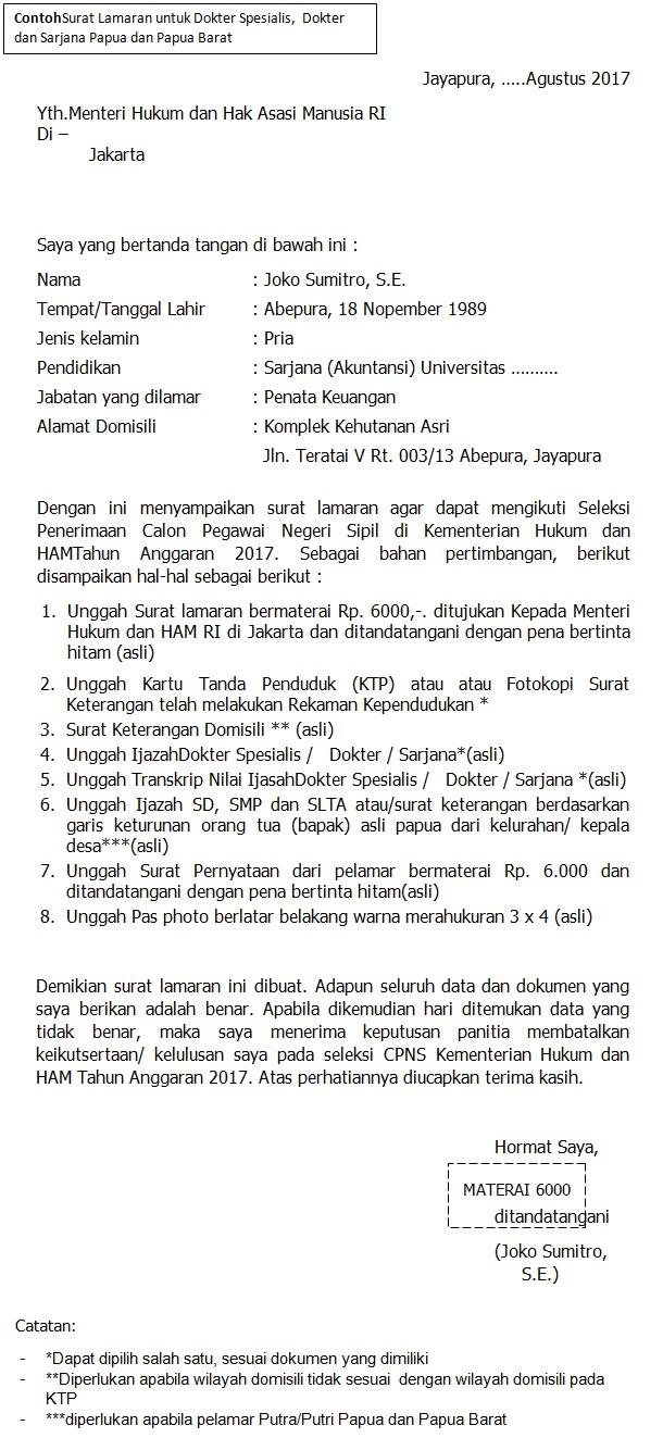 Format surat lamaran CPNS Kemenkumham Untuk Dokter,  Dokter Spesialis, Sarjana S1 Papua dan Papua Barat
