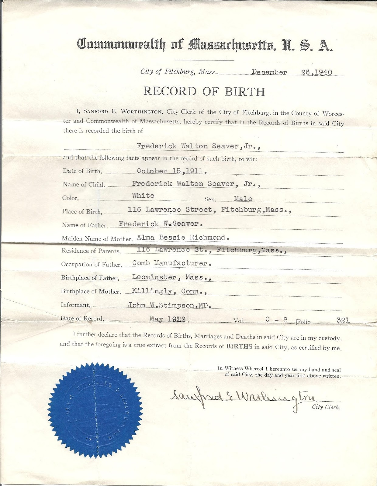 Genea Musings Treasure Chest Thursday Post 177 Birth Certificate