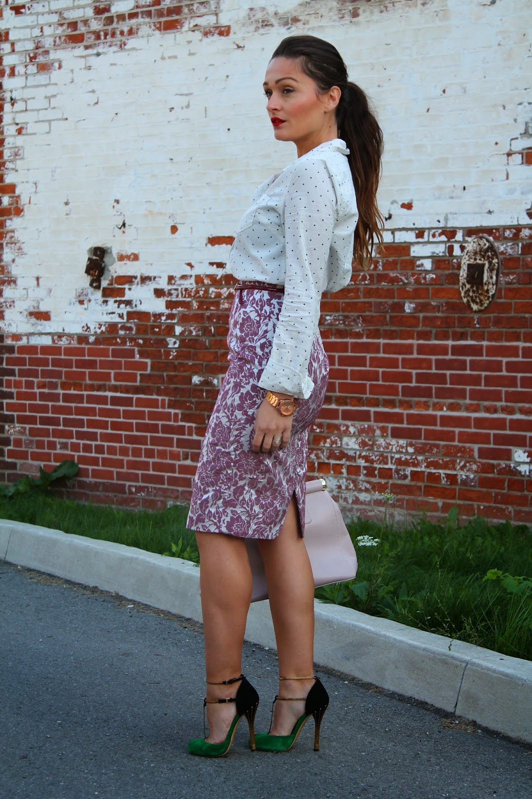 Gucci shoes, Gucci sandals, Gucci suede shoes, floral skirt, polka dot shirt, print mixing, blogerke, toronto street style, Toronto fashion blogger