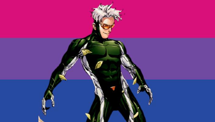 imagem: Fundo bandeira Bi. Personagem em quadrinho. Célere. Homem branco, magro, de cabelo branco. Usa uniforme verde com detalhes em branco e colado no corpo. E usa óculos amarelos.