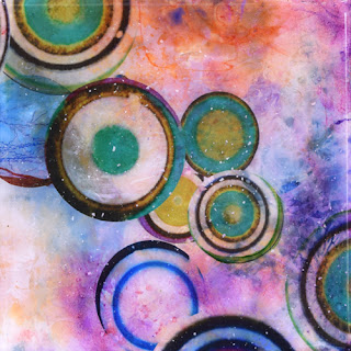 resin painting colorful circles
