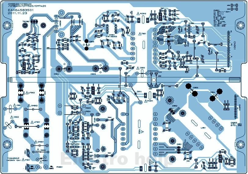 lg led/lcd tv power board eax64583501 circuit diagram - used ics used ics:  str-a6053, ncp 1252