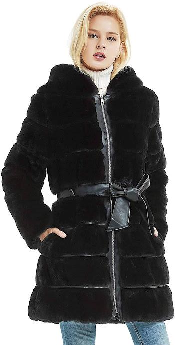 Elegant Black Faux Fur Coats Jackets For Women