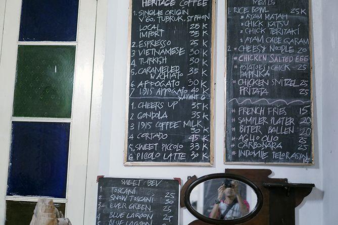 Daftar menu dan harga di 1915 Arts-Koffie-Huis Salatiga