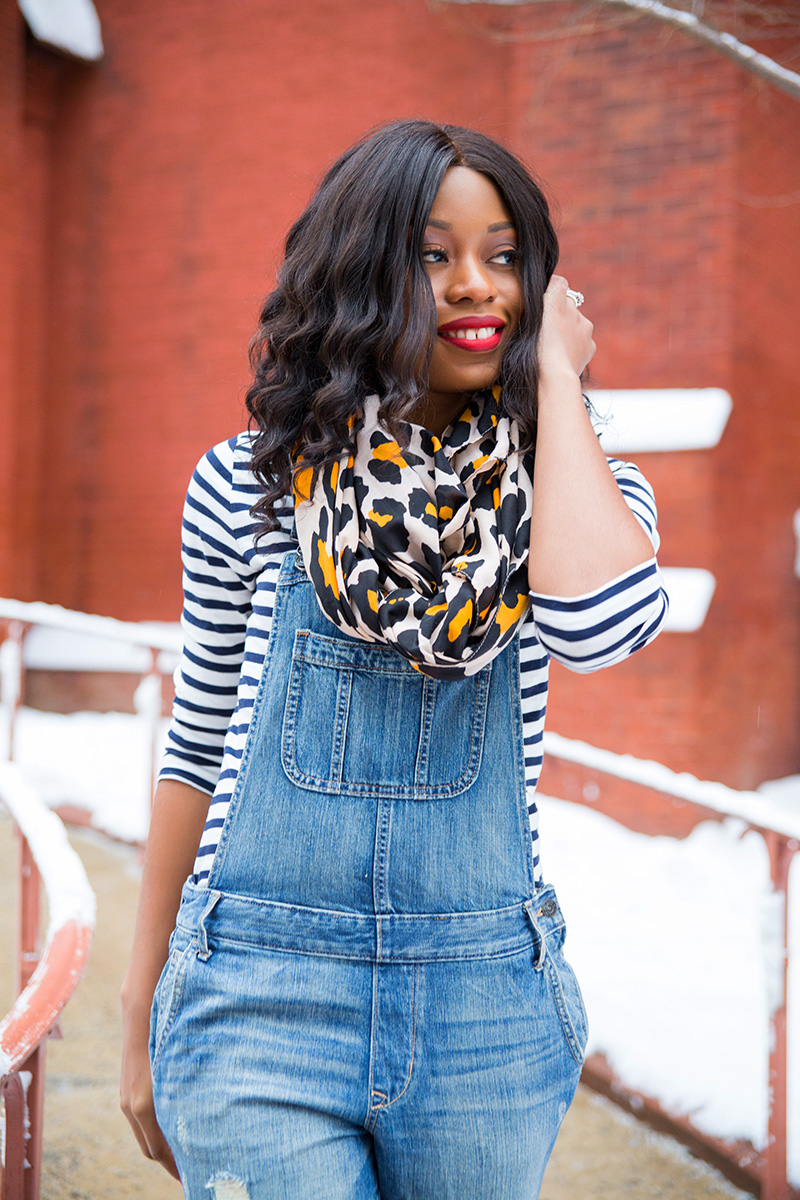 denim overall, jcrew stripes top, leopard scarf, www.jadore-fashion.com