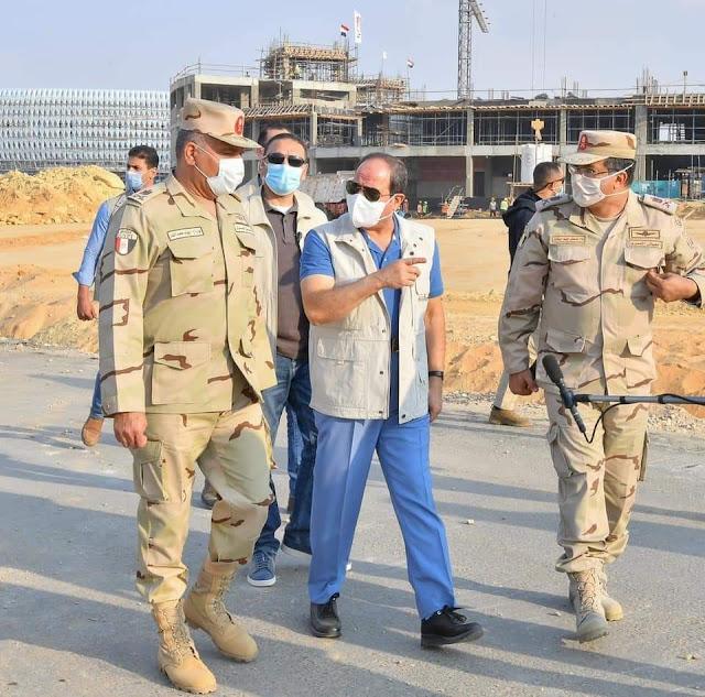 الرئيس السيسي يتفقد مدينة مصر الدولية للالعاب الاوليمبية بالعاصمة الادارية