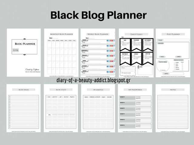 Black Blog Planner