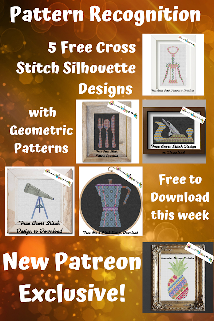 Five New Free Cross Stitch Silhouette Patterns with Geometric Cross Stitch Designs