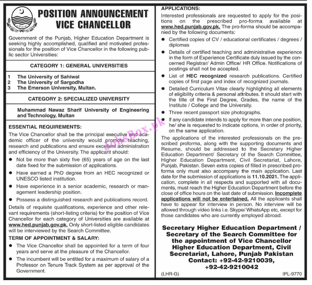 Higher Education Department Punjab Jobs 2021 – www.hed.punjab.gov.pk