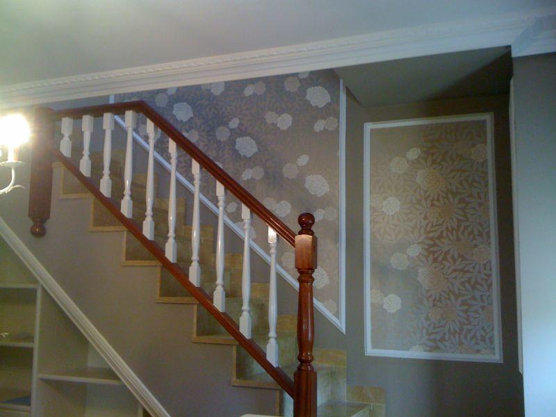Recikla arte barandilla de escalera lacada en blanco roto - Papel para la pared ...