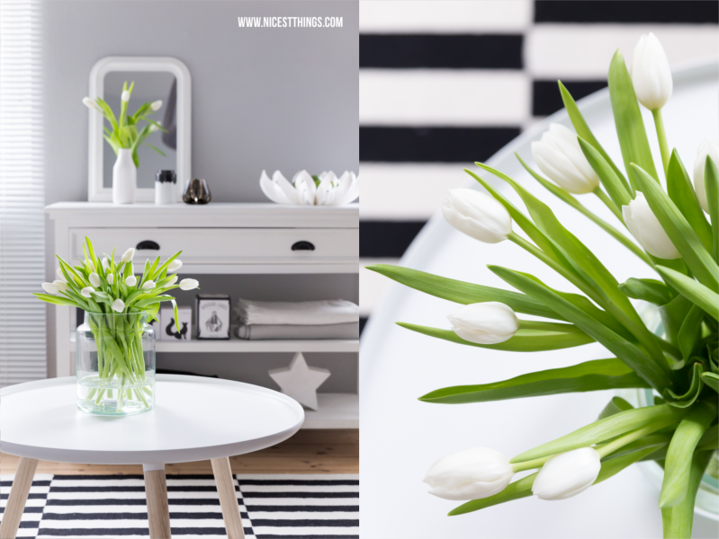 Weisse Tulpen im Wohnzimmer Tine K Home Wohnzimmer Deko im Frühling mit be&liv Petals Obstschale #wohnzimmer #livingroom #tinekhome #beandliv #normanncopenhagen