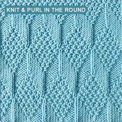 Knitting Stitches For Knitting In The Round : Moss Diamond and Lozenge - knitting in the round Knit - Purl stitches