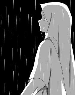 wanita mengeluarkan air mata