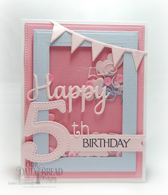 Our Daily Bread Designs Stamp Set: Celebration, Custom Dies: Large Numbers, Numbers, Rectagnles, Pierced Rectangles, Ornate Hearts, Happy Birthday, Clouds & Raindrops, Sparkling Hearts, Pennant Row, Pennant Flags, Butterfly & Bugs