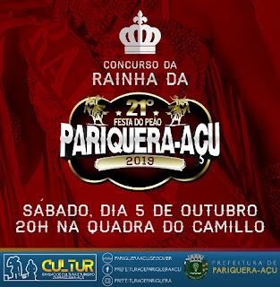 ESCOLHA DA RAINHA DO RODEIO ACONTECE NESTE SÁBADO EM PARIQUERA-AÇU