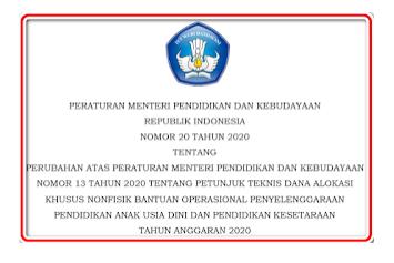 Isi Permendikbud Nomor 20 tahun 2020 (Revisi Juknis BOP PAUD)