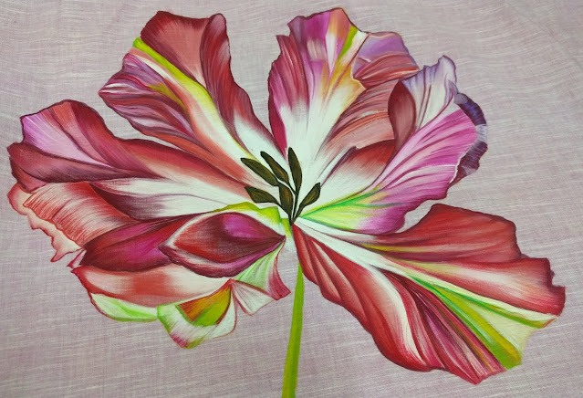 Colorful Floral Painting with detail work on the petals