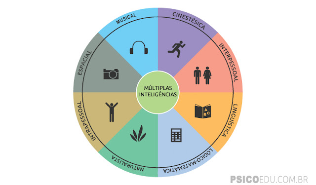 Inteligência fator g Teoria das Múltiplas Inteligências Howard Gardner, Musical, Cinestésica Corporal, Lógico-matemática, visual Espacial, Linguística, Interpessoal, Intrapessoal, Naturalista, educação