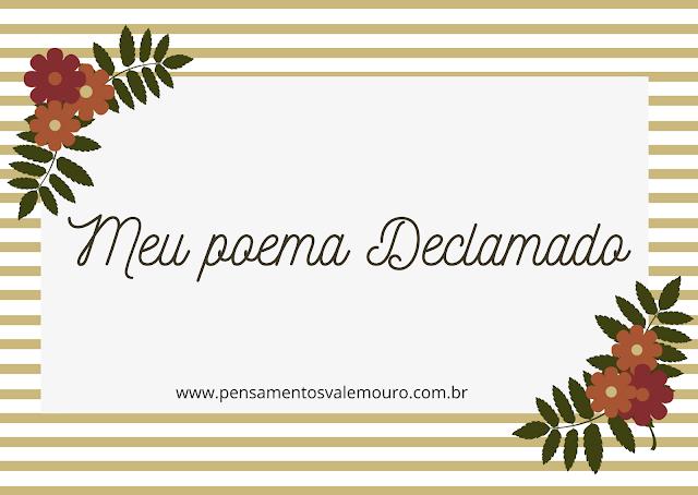 Meu poema declamado, Vanessa Vieira, Poesia, versos, autores Nacionais, Pensamentos Valem Ouro, Monique Lima, Declamação.