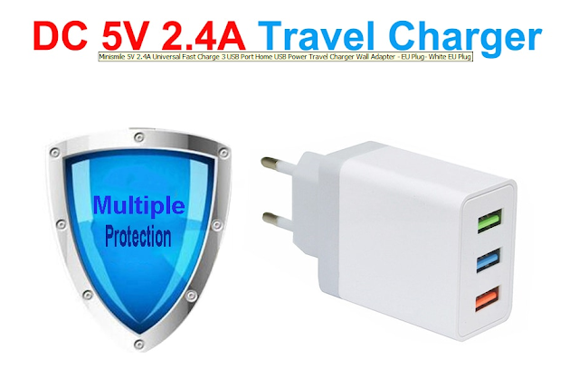 الشاحن السريع  5V/2,4A من  Gearbest | Minismile 5V 2.4A Universal Fast Charger