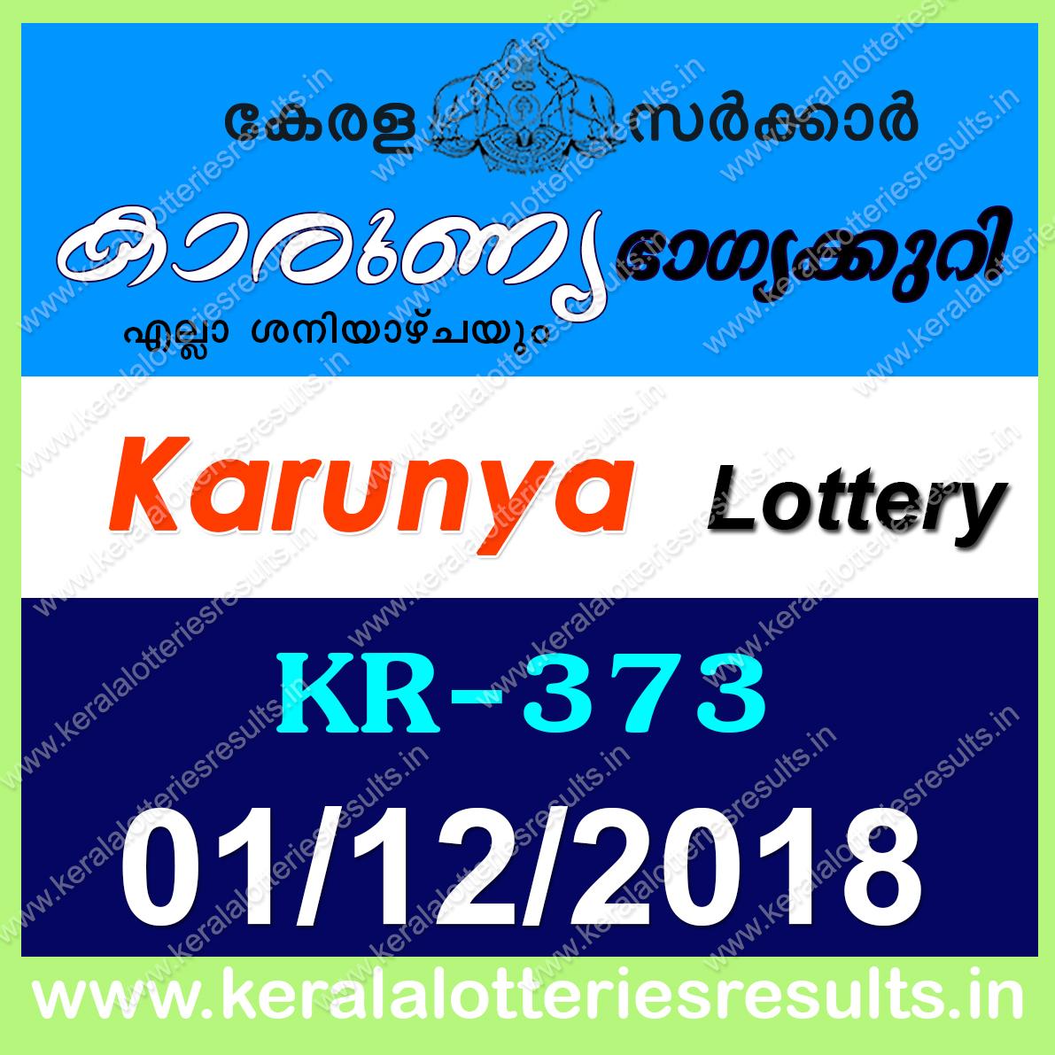 Kerala Lottery Result; 01.12.2018 Karunya Lottery Results