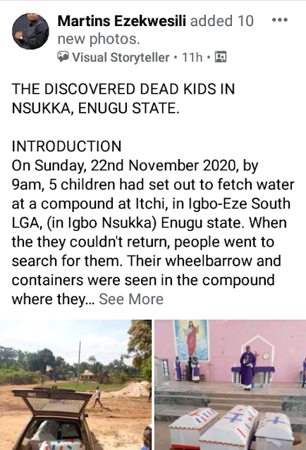 Photos received from the burial of the three kids found dead inside a car in Enugu.