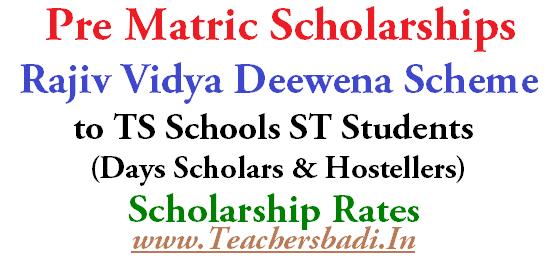 Pre Matric Scholarships,Rajiv Vidya Deewena Scheme, ST Students