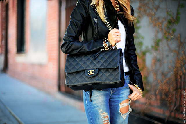 Haute & Rebellious - Chanel Bag + Distressed Denim