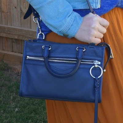rust maxi skirt and Rebecca Minkoff Micro Bedford zip satchel in twilight | away from the blue